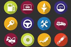 16 delicate round auto service icons vector