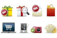 Link to16 delicate texture shopping icon vector