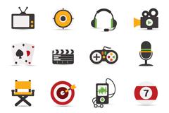 Link to16 elegant entertainment icon vector