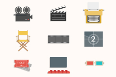 Link to16 elegant movie element icon vector