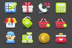 Link to16 elegant shopping icon vector