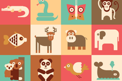 16 flat cartoon animal design vector