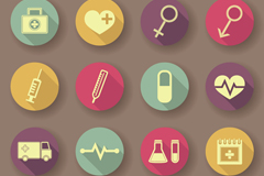Link to16 flat medical icons vector