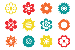 Link to16 flowers cartoon icon vector