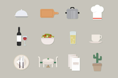 16 fresh restaurant icon vector