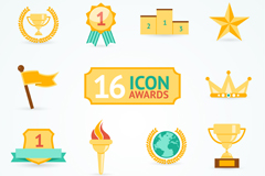 Link to16 golden trophies and medals icon vector