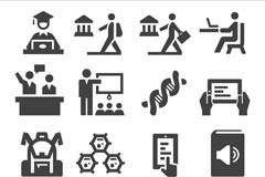 Link to16 gray education element icon vector