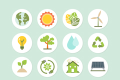 Link to16 green eco icon vector