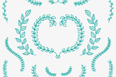 16 green hand-painted tree branch vector