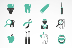 16 green teeth care icon vector