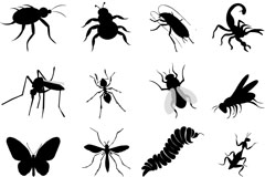 16 insect silhouettes vector