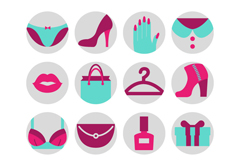 16 ladies apparel and accessories icon vector
