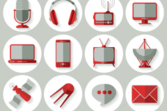 Link to16 red social media icon vector