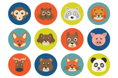 Link to16 round animal head vector