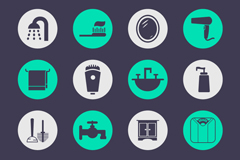 16 round bathroom icon vector