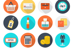 Link to16 round e-commerce icons vector
