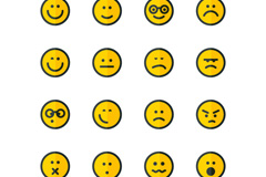 Link to16 round emoticons vector