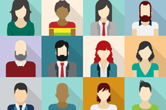 Link to16 square characters avatar vector illustration