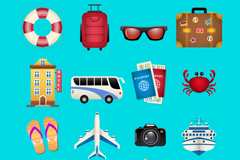 16 travel icon vector