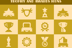 Link to16 trophies medals icon vector