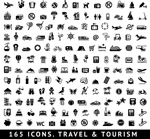 165 tourist icons vector
