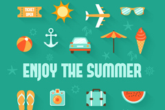 17 summer icon vector