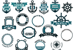 Link to17 vintage nautical tag vector