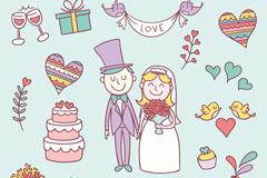 Link to17 wedding cartoon element vector