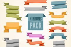 Link to18 colored ribbon banner vector