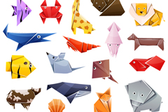 Link to18 colour origami animal design vector