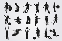 Link to18 playing children's silhouettes vector