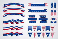 Link to18 united states ribbons and hanging flags of the element vector