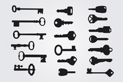 Link to19 practical keys silhouettes vector