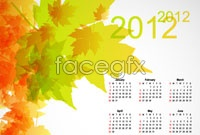2 2012 autumn leaves background calendar template