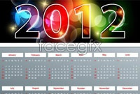 Link to2 2012 calendars abroad template vector