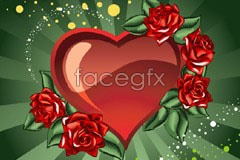 Link to2 beautiful hearts and roses trend vector illustration