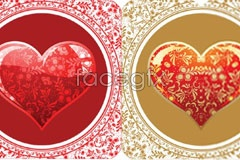 Link to2 beautiful pattern crystal heart-shaped vector