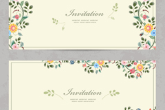 Link to2 cartoon flower invitation card vector
