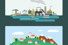 Link to2 creative factory and village card vector