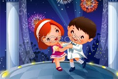 Link to2 dance theme children cartoon vector illustration