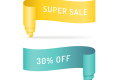 Link to2 edge promotions ribbons vector
