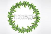 2 green leaf wreaths vector map