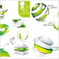 Link to2 sets of green icon vector dimensional