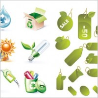 Link to2 sets of green icon vector