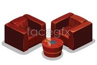 Link to2 sofa chairs 3d rendering vector graphics