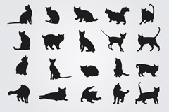 Link to20 black cat silhouette vector