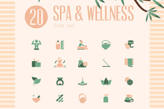 20 colour spa spa icon vector