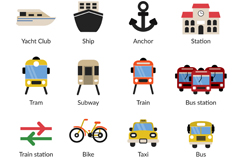 Link to20 travel and transport icons vector
