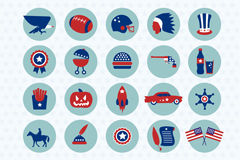 20 united states design element icon vector