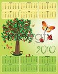 Link to2010 calendar of apple tree vector